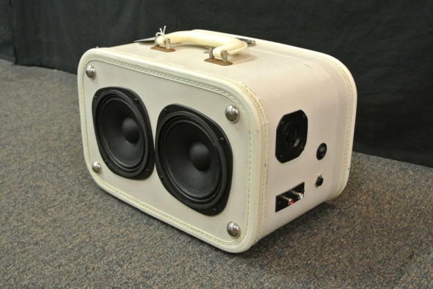 white ramble on sonic suitcase speaker